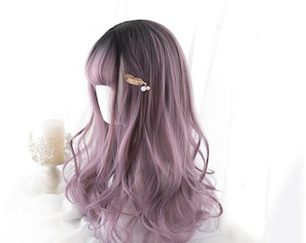 """20.5""""Long light brown pink curly hairwig for white women,Wig with bangs,Lolita cosplay wig,Purple-Pink wig,Daily girl wig,Japanese style wig"""