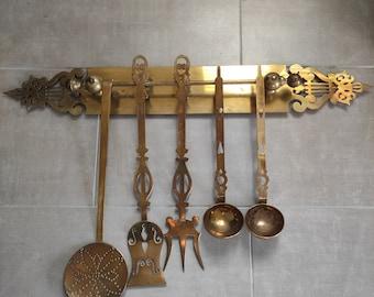 Vintage, Set of Cooking Utensils in Laiton Deco Deco Handmade, Deco Kitchen Utensils, Country Kitchen Decoration, Country Kitchen