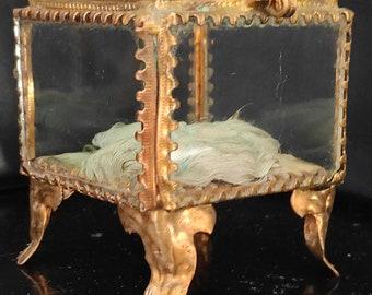 Antique French Jewelry Box,Napoleon III Era,XIX Century,Brass,Glasses, and Beveled Glass/Ancient French Jewelry Box, Trinket Box