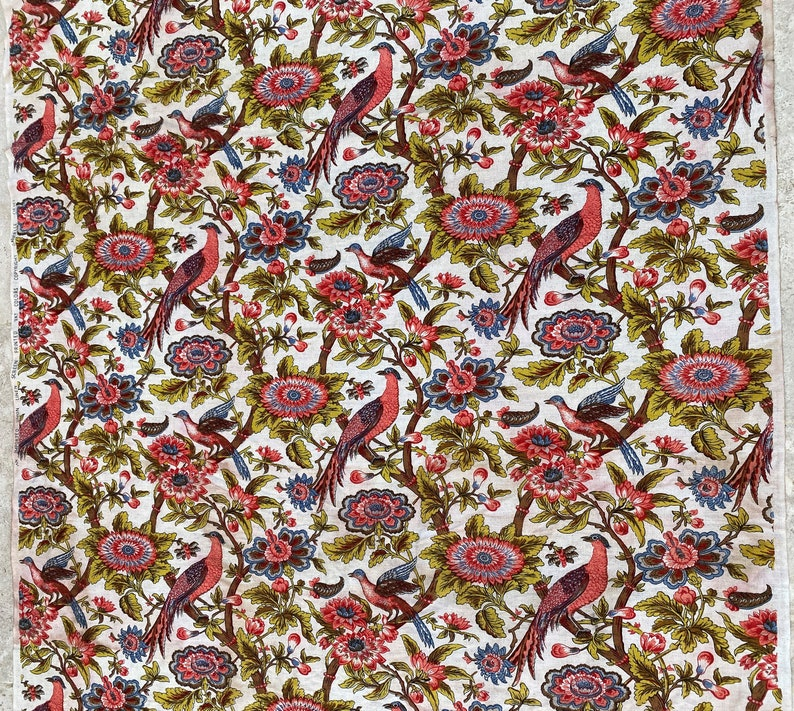 cie Old Indian-flowered linen fabric coupon with Gabrielle birds