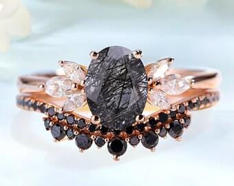 Unique engagement ring set for woman, bridal ring set, wedding ring set, promise ring set, Black Rutilated Quartz unique wedding set, bridal