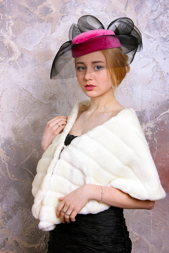 1950s Womens Hat, Sinamay Hats, Veil,  1950s Pink… - image 2