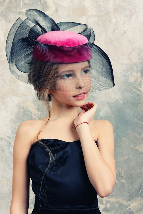 1950s Womens Hat, Sinamay Hats, Veil,  1950s Pink… - image 1