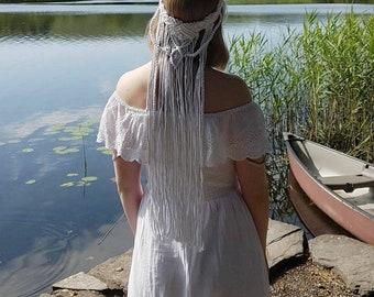 Macrame Wedding Veil   Boho Wedding Veil   Wedding Headband   Festival Headband
