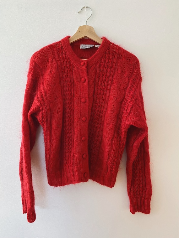 Vintage Mohair Cardigan Sweater, Red Jumper