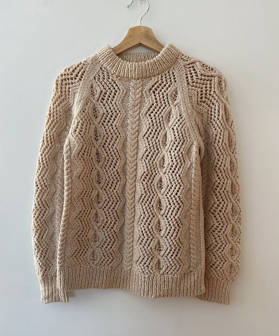 Vintage Oatmeal Coloured Wool Cable Knit Sweater,