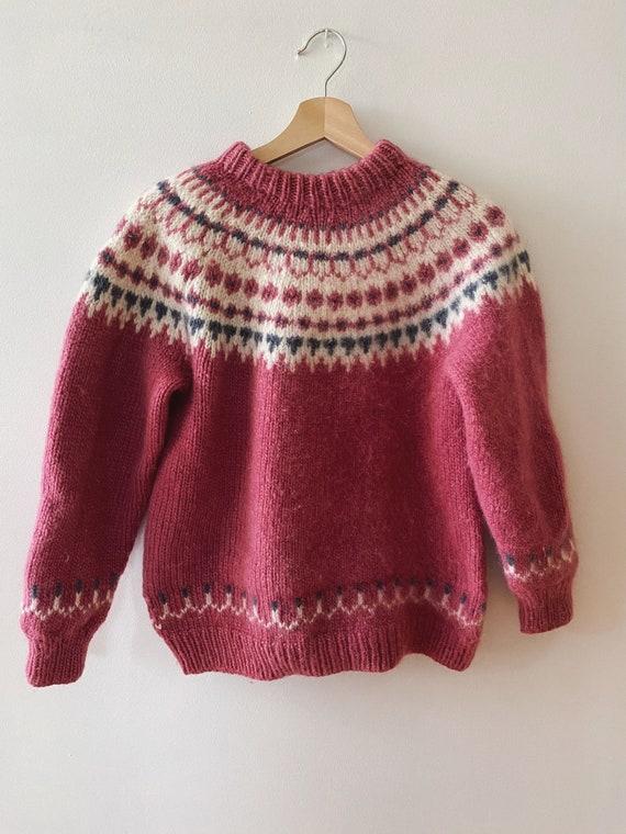 Vintage Lopi Wool Sweater, Hand Knit Pink Fair Isl