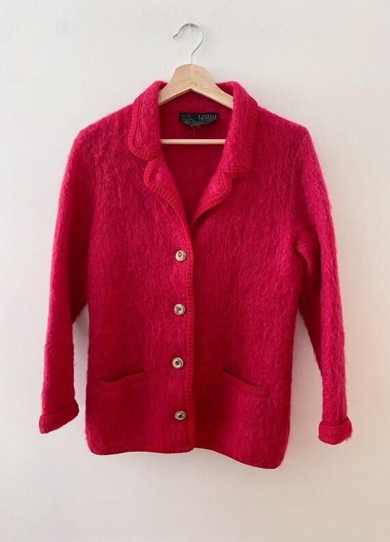 Vintage Mohair Cardigan Sweater, Cranberry Jumper