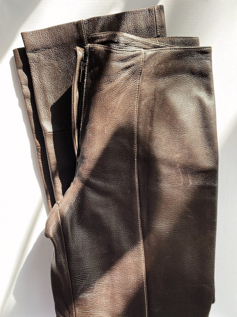 Vintage Brown Leather Pants 90s Leather Trousers