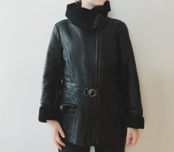 90s Black Leather Shearling Jacket, Belted, Vintag