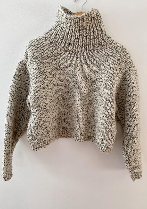 Handmade Chunky Knit Wool Turtleneck Cropped Sweat