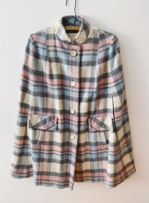 60s Wool Plaid Cape, Vintage Overcoat Cape Jacket
