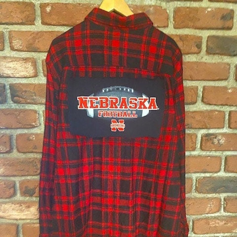 Upcycled bleached flannel shirt with Nebraska Huskers back patch Custom-made to YOUR sizespecs!