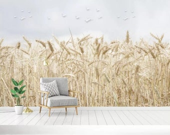Pond Wallpaper Reed Wall Mural,Vintage art,Peel and Stick Removable Self Adhesive Wallpaper 3D Simple