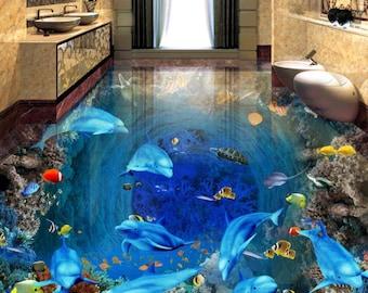 3D White Hollow Carving 6324 Floor Wallpaper Murals Self-Adhesive Removable Kitchen Bath Floor Waterproof floor Rug Mat Print Epoxy YOYO