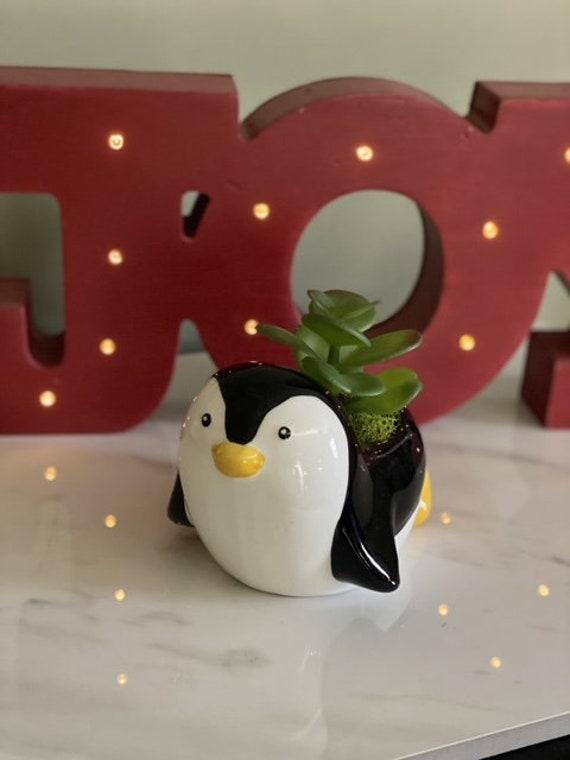 Ceramic Penguin Sculpture Penguin Art Succulent Pot Desk Decor Penguin Succulent Planter