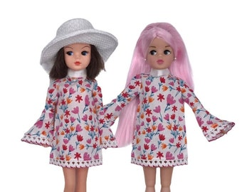 Floral Mini Dress with Flared Sleeve for Sindy dolls