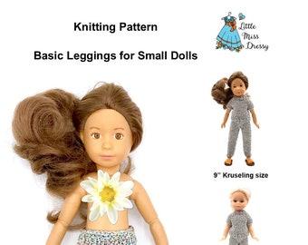 "PDF Knitting Pattern Basic Leggings for Small Dolls - 9"" Kruselings, 8"" MiniAmigas, Sindy, Barbie"