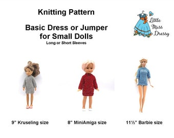 "PDF Knitting Pattern Basic Dress or Jumper for Small Dolls - 9"" Kruselings, 8"" MiniAmigas, Sindy, Barbie"