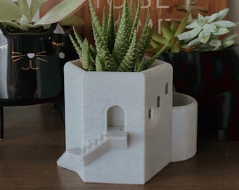 Mini Santorini Succulent Planter | Sustainable 3D Printed PLA | Decorative Planter | Succulent Planter | Tower Greece Planter