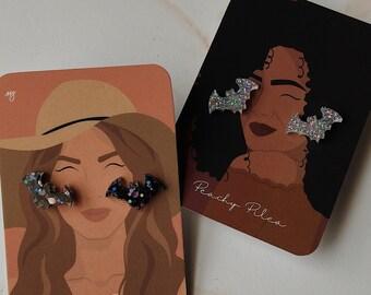 It's Freakin' Bats Stud Earrings | Glitter Resin Stud Earrings