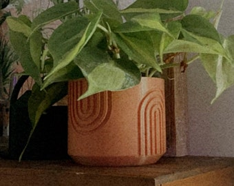 4 Inch Rainbow Boho Planter | Terracotta Color Planter | 3D Printed Planter | Decorative Planter | Succulent Planter