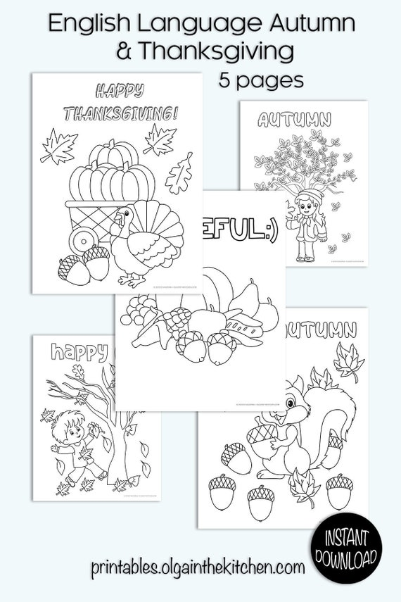 Autumn and Thanksgiving Coloring Pages 5 pages instant