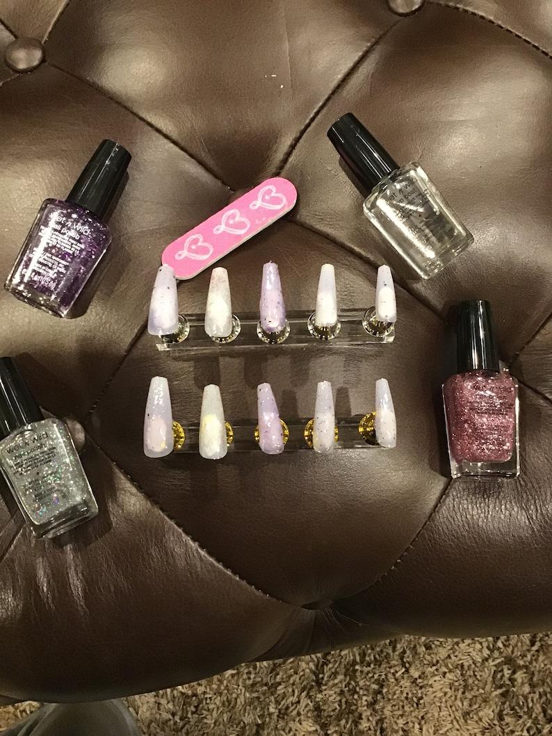 Pink and purple false nail set