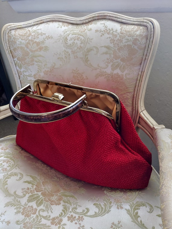 VINTAGE TOP Handle Red Handbag, JR U.S.A. Vintage… - image 7