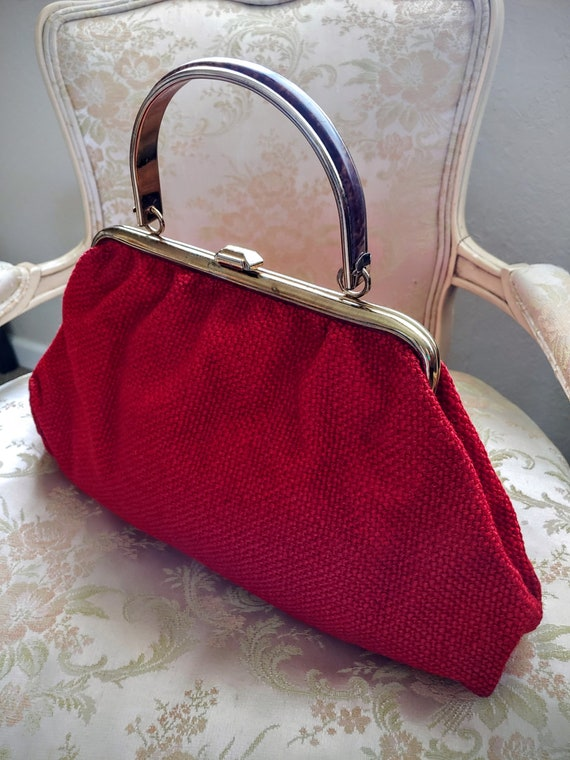 VINTAGE TOP Handle Red Handbag, JR U.S.A. Vintage… - image 10