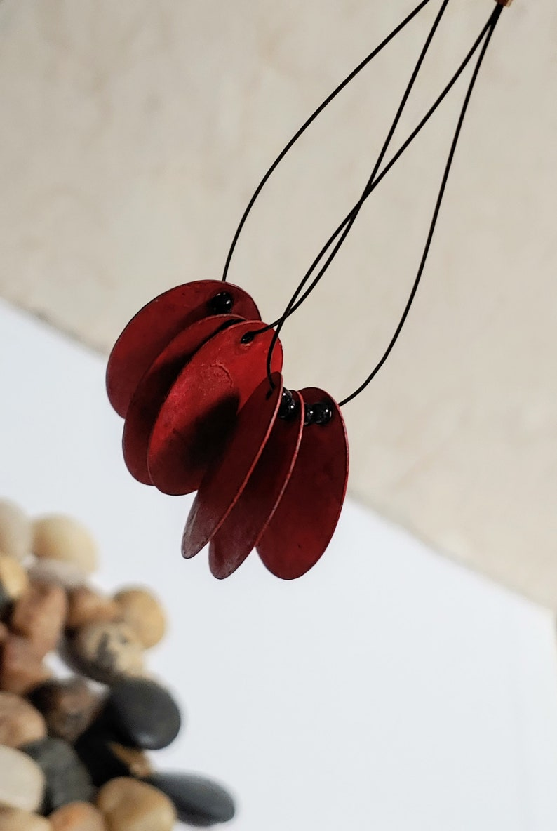 Handmade Artisan Jewelry RED GYPSIE EARRINGS Dangle Earrings Boho Red and Black Earrings Belly Dancer Yoga Yogi Oval Geometric Earrings