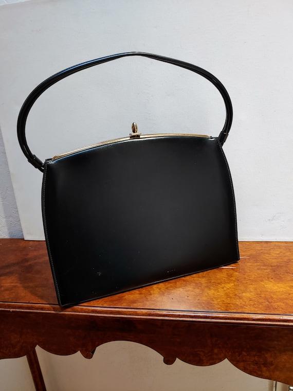 VINTAGE TOP HANDLE Black Handbag, Elegant Grace K… - image 9