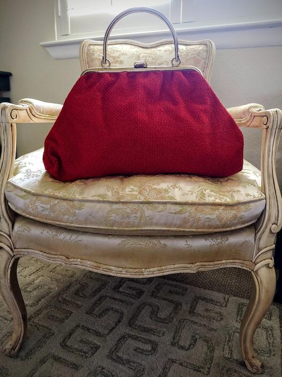 VINTAGE TOP Handle Red Handbag, JR U.S.A. Vintage… - image 1