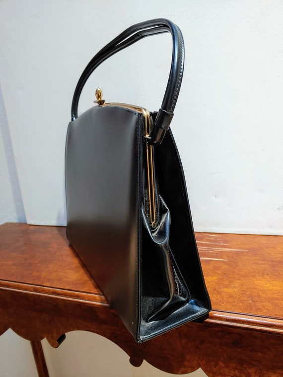VINTAGE TOP HANDLE Black Handbag, Elegant Grace K… - image 6