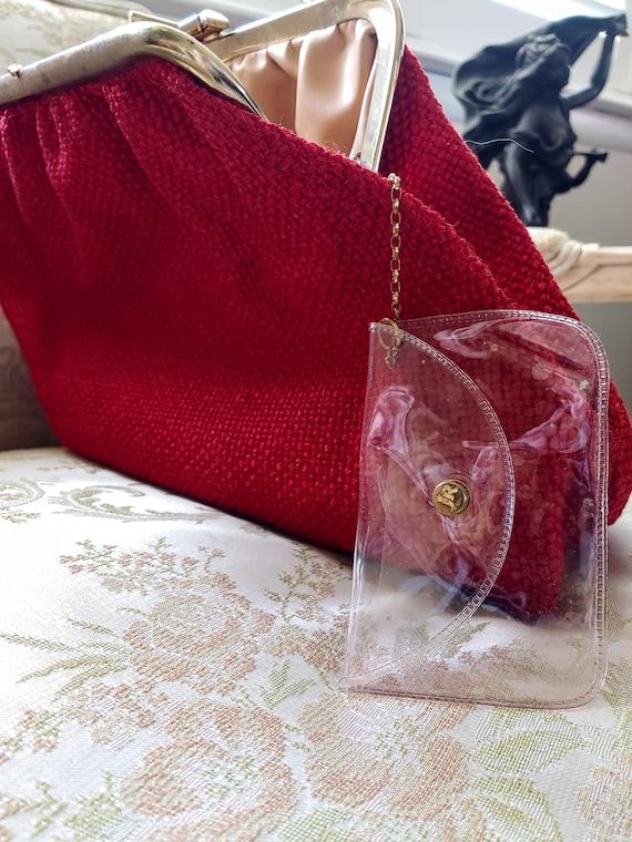 VINTAGE TOP Handle Red Handbag, JR U.S.A. Vintage… - image 4