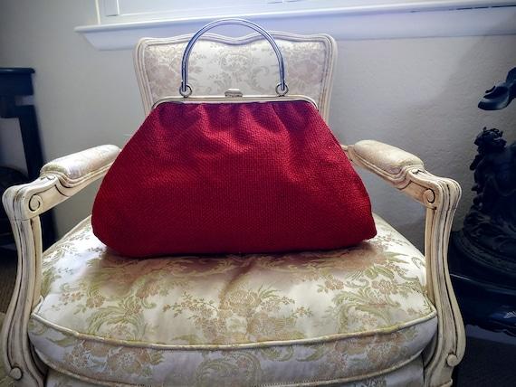 VINTAGE TOP Handle Red Handbag, JR U.S.A. Vintage… - image 9