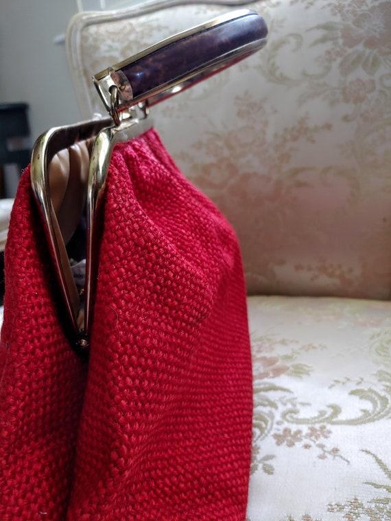 VINTAGE TOP Handle Red Handbag, JR U.S.A. Vintage… - image 2