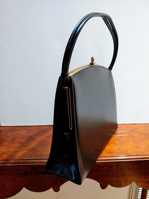 VINTAGE TOP HANDLE Black Handbag, Elegant Grace K… - image 2