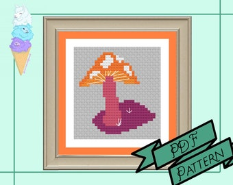 Lesbian Mushroom Mini Cross Stitch | WLW Pride | Pride Cross Stitch