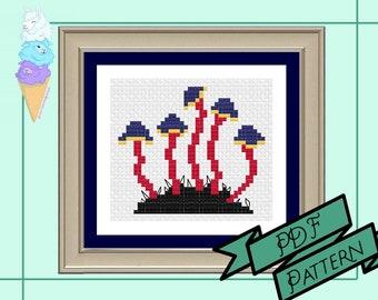 Polyamory Mushroom Mini Cross Stitch | Poly Pride | Pride Cross Stitch