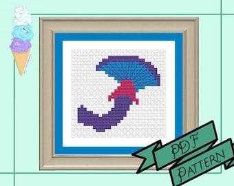 Bisexual Mushroom Mini Cross Stitch | Bi Pride | Pride Cross Stitch