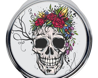 Round Compact Mirror Unique Gift Skull of the Flower Queen Skull Mirror Goth Accessories for Women Skull King Goth Mirror