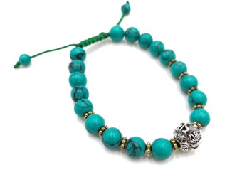 Turquoise Faux Bracelet with Silver Bead. Adjustable. Nepalese handcrafted.