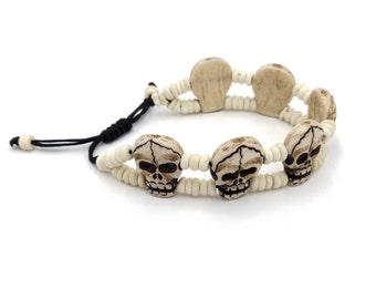 Skull Bone Bracelet. FLAT. Adjustable. Nepalese handcrafted bone skulls.