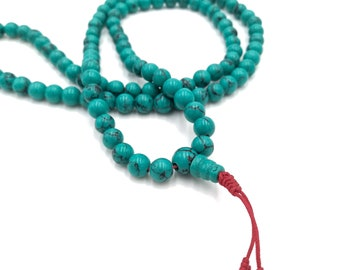 Turquoise Faux Necklace with Red Tassel. Prayer Beads. Nepalese handcrafted.