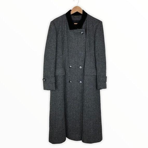70's Vintage Grey Herringbone Wool Winter Coat