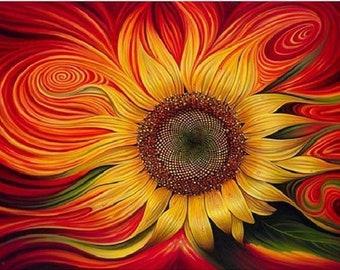Diamond Painting Kits for Adults Kids 5D DIY Abstract Sunflower Diamond Art #45