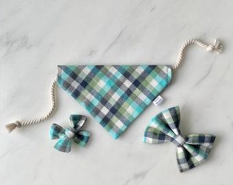 Over The Collar Dog Bandana Threads Unleashed Tie Up Dog Bandana Grey-Blue Geometric Dog Bandana Dog Accessories Cute Dog Bandana