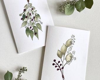 Botanical Christmas Card, Christmas Card Pack, Mistletoe, Eucalyptus Christmas cards, Botanical watercolour art