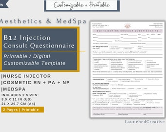 Vitamin B12 Consult Questionnaire | B12 Shot Client Intake | Vitamin B12 Injection Client History Form | B12 Cobalmin Injection Medical Form